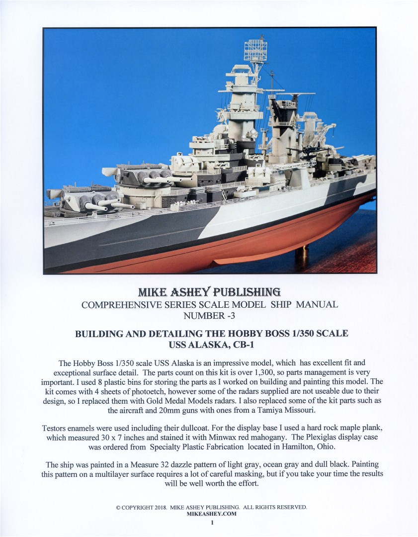 HOBBY BOSS USS ALASKA COMPREHENSIVE SERIES SCALE MODEL MANUAL