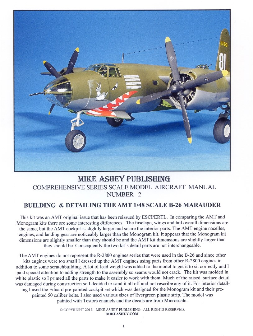 Building and detailing the AMT 1/48 scale B-26 marauder Scale Model Manual by Mike Ashey Publishing